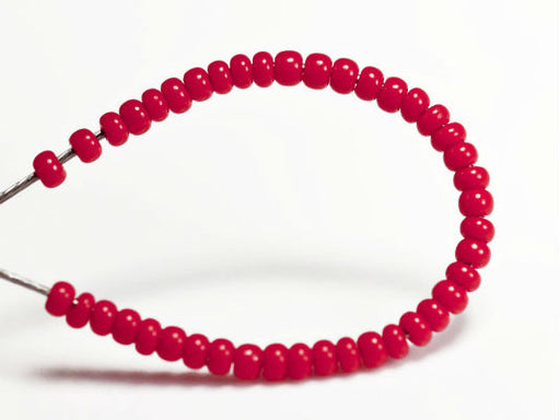 20 g 13/0 Seed Beads Preciosa Ornela, Red Coral Opaque, Czech Glass