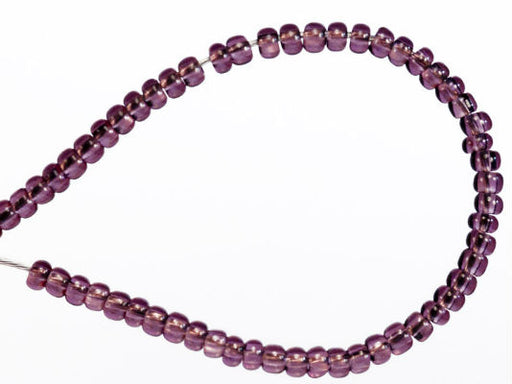 20 g 11/0 Seed Beads Preciosa Ornela, Amethyst Transparent, Square Hole, Czech Glass