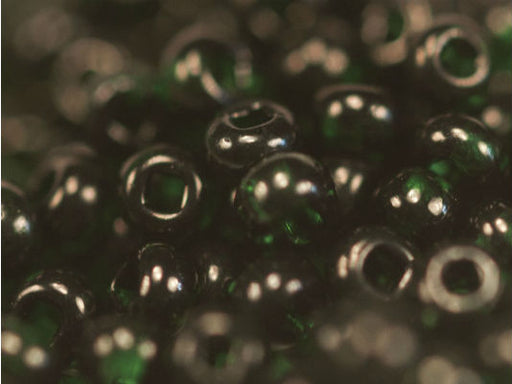 20 g 11/0 Seed Beads Preciosa Ornela, Dark Green Transparent, Square Hole, Czech Glass