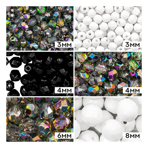 Set of Round Fire Polished Beads (3mm, 4mm, 6mm, 8mm), 3 colors: Crystal Vitrail, Chalk White, Jet Black, Czech Glass
