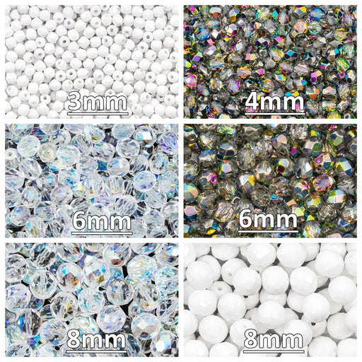 Set of Round Fire Polished Beads (3mm, 4mm, 6mm, 8mm), 3 colors: Crystal Vitrail, Chalk White, Crystal AB, Czech Glass