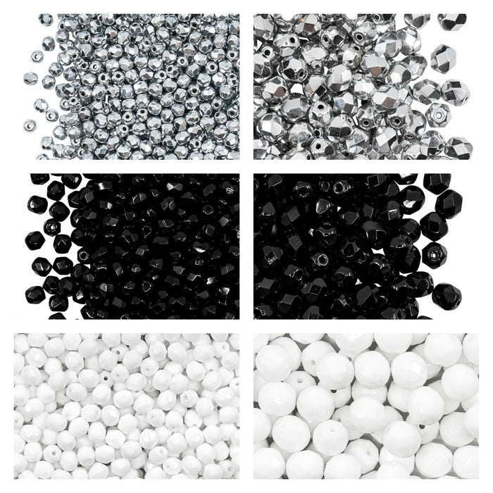 Set of Round Fire Polished Beads (3mm, 4mm, 6mm, 8mm), 3 colors: Crystal Full Labrador, Jet Black, Chalk White, Czech Glass