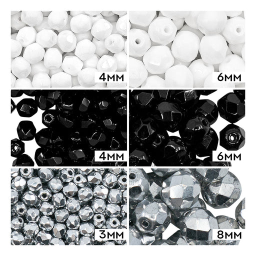 Set of Round Fire Polished Beads (3mm, 4mm, 6mm, 8mm), 3 colors: Jet Black, Chalk White, Crystal Full Labrador, Czech Glass