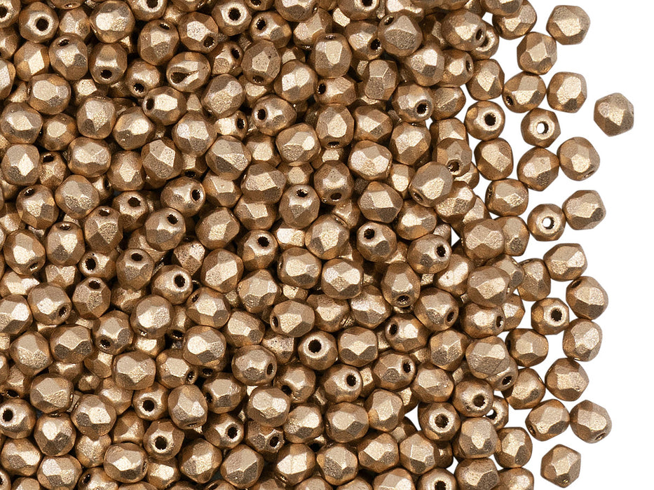 100 pcs Fire Polished Faceted Beads Round, 3mm, Crystal Bronze Pale Gold (Aztec Gold), Czech Glass