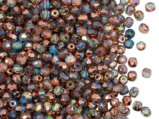 100 pcs Fire Polished Faceted Beads Round, 3mm, Crystal Copper Rainbow, Czech Glass