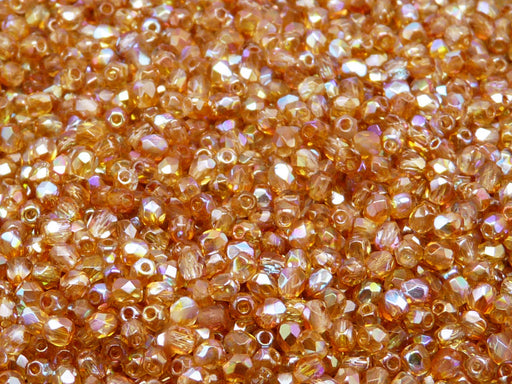 100 pcs Fire Polished Faceted Beads Round, 3mm, Crystal Orange Rainbow, Czech Glass