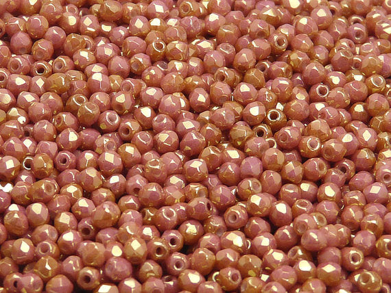 100 pcs Fire Polished Faceted Beads Round, 3mm, Chalk Red Luster, Czech Glass