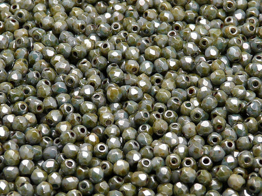 100 pcs Fire Polished Faceted Beads Round, 3mm, Chalk Gray Glaze, Czech Glass