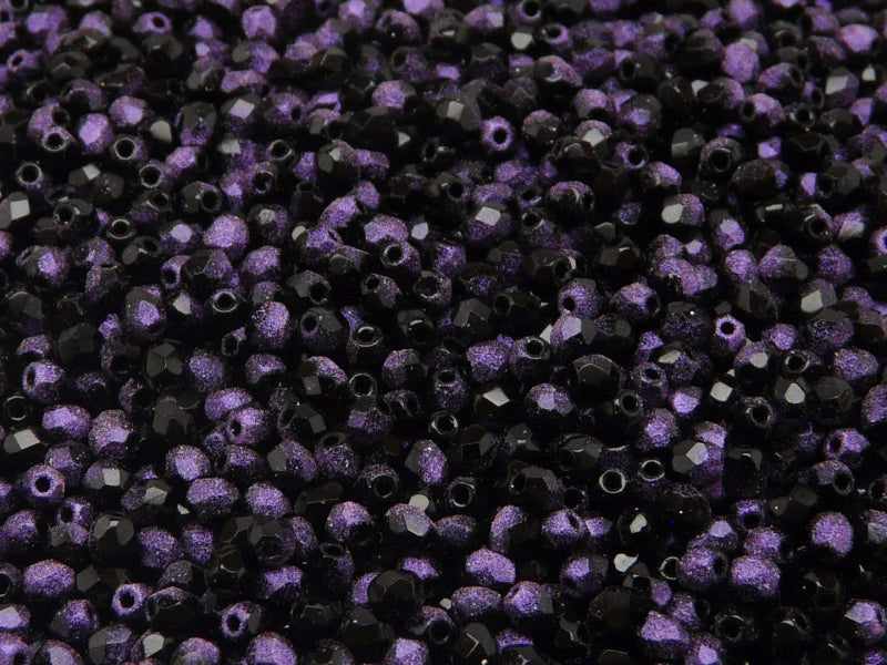 100 pcs Fire Polished Faceted Beads Round, 3mm, Jet Rutile Violet, Czech Glass