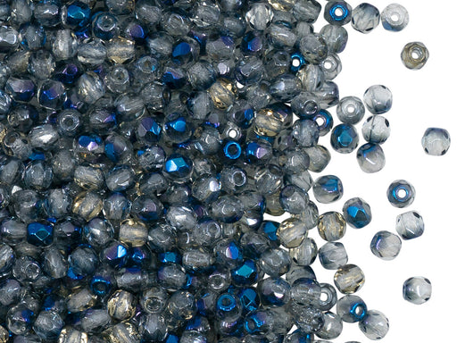 100 pcs Fire Polished Faceted Beads Round, 3mm, Crystal Blue Luster Azuro, Czech Glass