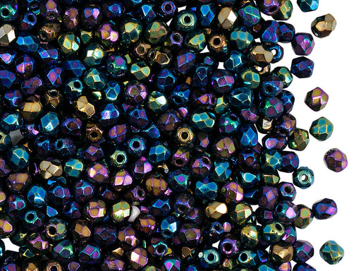 100 pcs Fire Polished Faceted Beads Round, 3mm, Jet Iris Rainbow (Heavy Metal Mix), Czech Glass