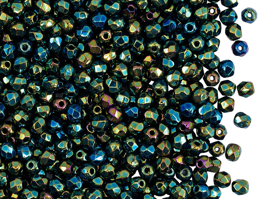 100 pcs Fire Polished Faceted Beads Round, 3mm, Jet Green Iris, Czech Glass