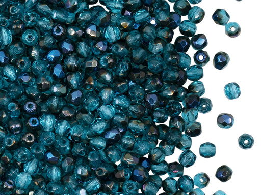 100 pcs Fire Polished Beads 3 mm, Aquamarine Azuro, Czech Glass