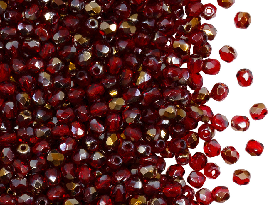 100 pcs Fire Polished Faceted Beads Round 3 mm, Ruby Valentinite, Czech Glass