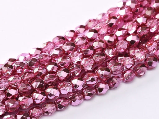 100 pcs 100 pcs Fire Polished Beads 3 mm Crystal Rose Metallic Ice Czech Glass Pink