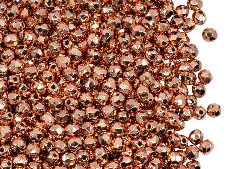 Fire Polished Faceted Beads Round 3 mm, Copper Plated, Czech Glass