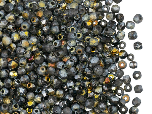 100 pcs Fire-Polished Faceted Beads Round 3mm, Czech Glass, Crystal Etched Marea Full