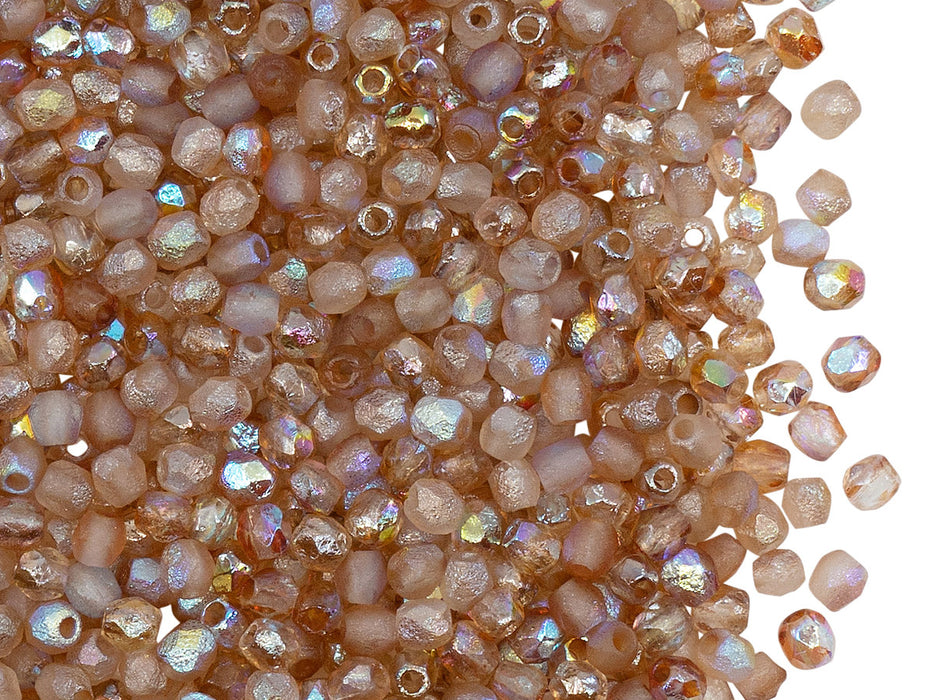 100 pcs Fire-Polished Faceted Beads Round 3mm, Czech Glass, Crystal Etched Brown Rainbow