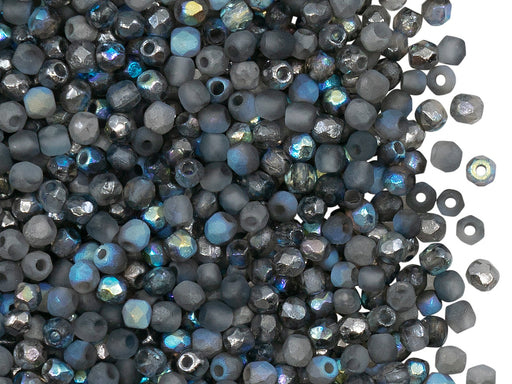 100 pcs Fire-Polished Faceted Beads Round 3mm, Czech Glass, Crystal Etched Graphite Rainbow