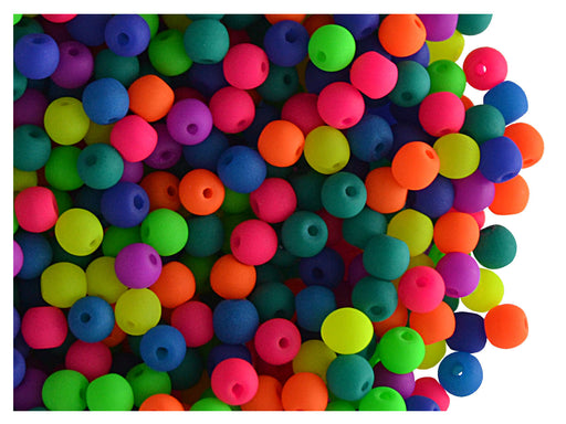 50 pcs Round NEON ESTRELA Beads, 3mm, Mix, Czech Glass