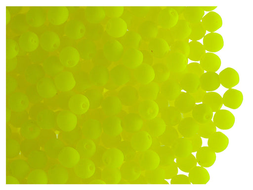 50 pcs Round NEON ESTRELA Beads, 3mm, Yellow, Czech Glass