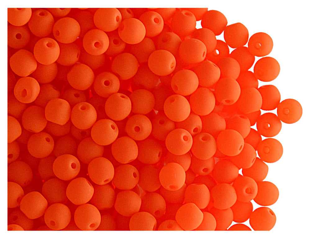 50 pcs Round NEON ESTRELA Beads, 3mm, Orange, Czech Glass