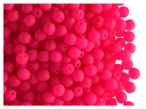 50 pcs Round NEON ESTRELA Beads, 3mm, Pink, Czech Glass