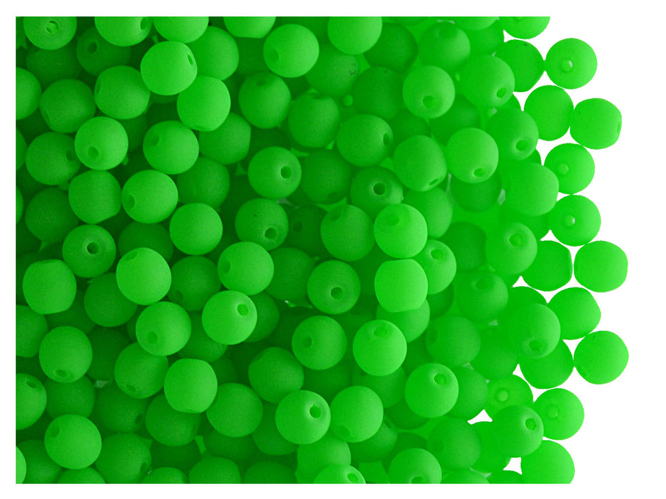 50 pcs Round NEON ESTRELA Beads, 3mm, Green, Czech Glass