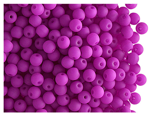 50 pcs Round NEON ESTRELA Beads, 3mm, Purple, Czech Glass