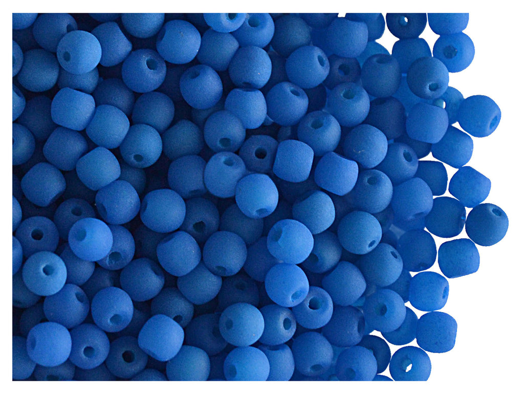 50 pcs Round NEON ESTRELA Beads, 3mm, Blue, Czech Glass