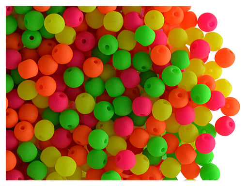 50 pcs Round NEON ESTRELA Beads, 3mm, Warm Mix, Czech Glass
