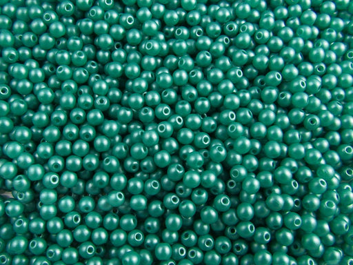 100 pcs Round Pressed Beads, 3mm, Alabaster Powder Dark Green, Czech Glass