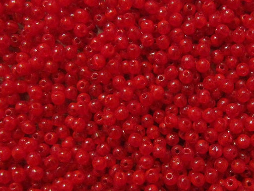 100 pcs Round Pressed Beads, 3mm, Medium Red Opal, Czech Glass