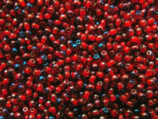 100 pcs Round Pressed Beads, 3mm, Ruby Transparent Luster Azuro (Red Wine Transparent Azuro), Czech Glass