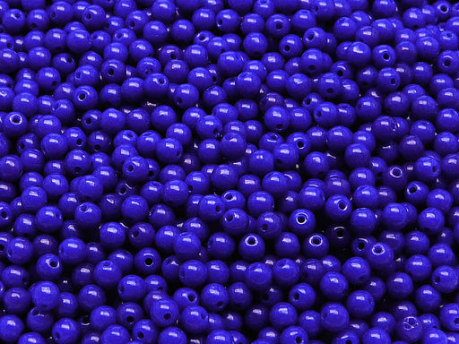 100 pcs Round Pressed Beads, 3mm, Opaque Sapphire, Czech Glass