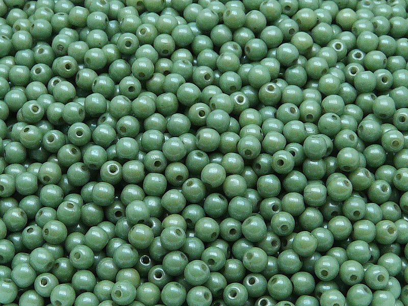 100 pcs Round Pressed Beads, 3mm, Chalk Green Luster, Czech Glass
