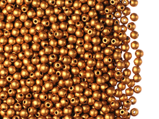 100 pcs Round Pressed Beads, 3mm, Brass Gold, Czech Glass