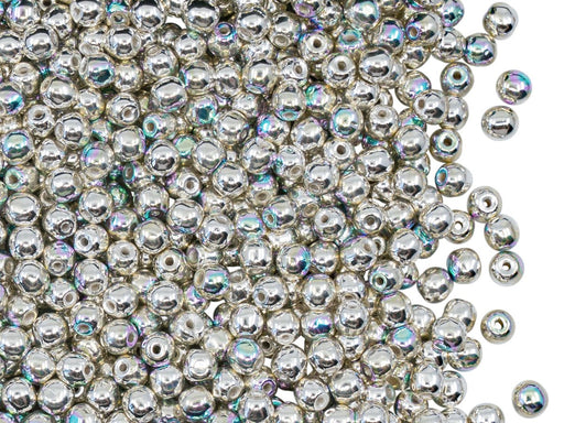 Round Beads 3 mm, Crystal Sterling Silver Plated AB, Czech Glass