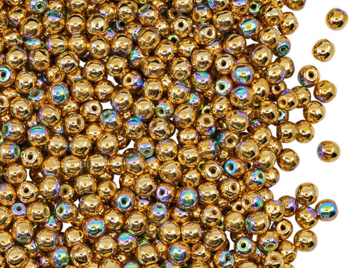 Round Beads 3 mm, Crystal 24KT Gold Plated AB, Czech Glass