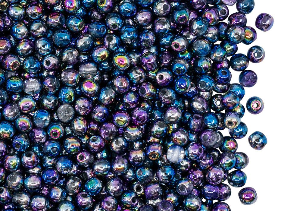 100 pcs Round Beads 3 mm, Crystal Magic Violet Blue, Czech Glass