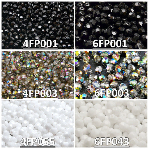 Set of Round Fire Polished Beads (4mm, 6mm), 3 colors: Jet Black, Crystal Vitrail, Chalk White, Czech Glass