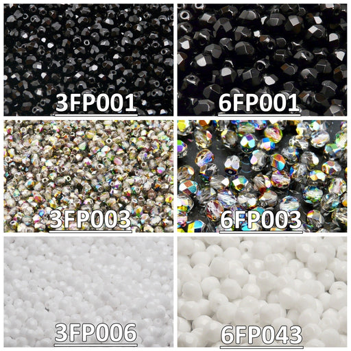 Set of Round Fire Polished Beads (3mm, 6mm), 3 colors: Jet Black, Crystal Vitrail, Chalk White, Czech Glass
