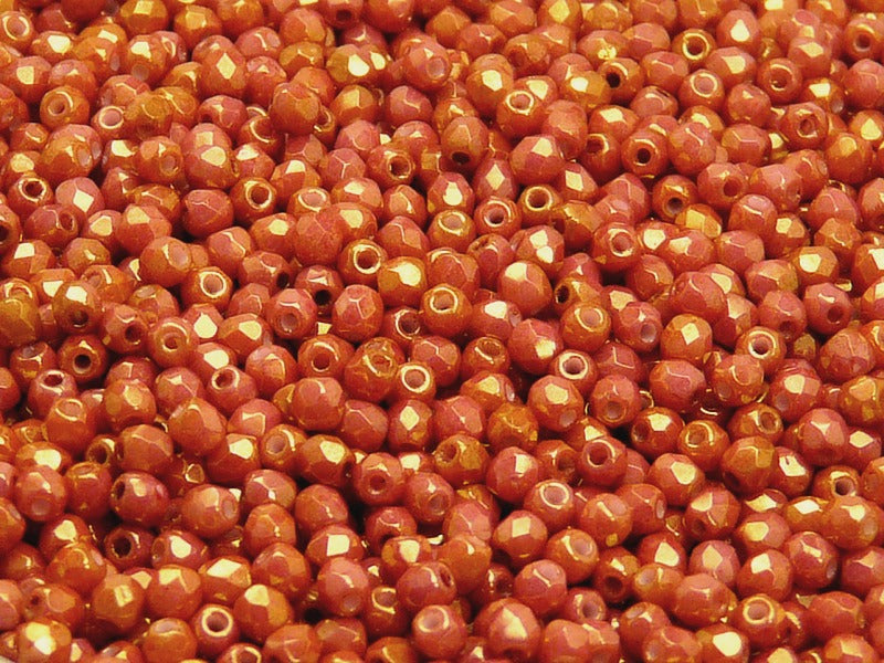 100 pcs Fire Polished Faceted Beads Round, 3mm, Opaque Mix Red/Orange Ceramic Look, Czech Glass
