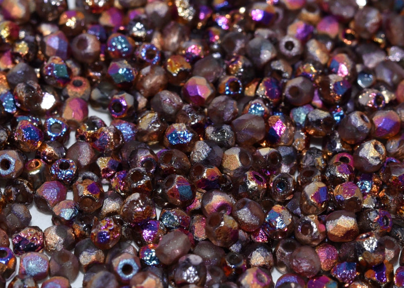 100 pcs Fire-Polished Faceted Beads Round 3mm, Czech Glass, Crystal Etched Sliperit Full
