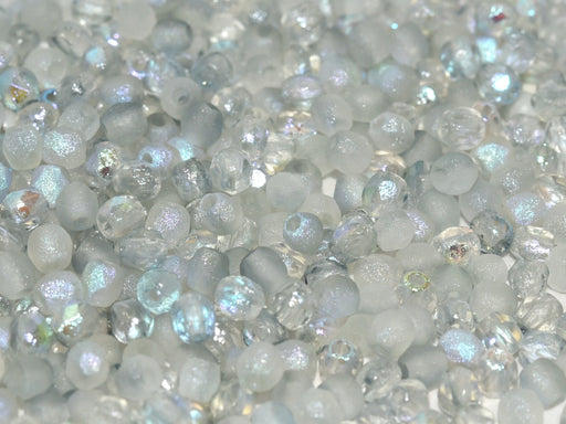 100 pcs Fire-Polished Faceted Beads Round 3mm, Czech Glass, Crystal Etched Blue Rainbow