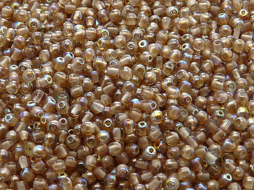 100 pcs Round Pressed Beads, 3mm, Crystal Brown Rainbow, Czech Glass