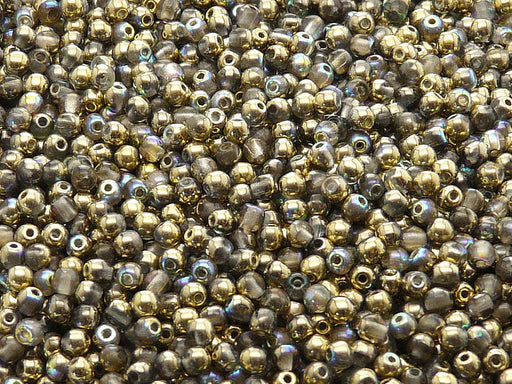 100 pcs Round Pressed Beads, 3mm, Crystal Golden Rainbow, Czech Glass