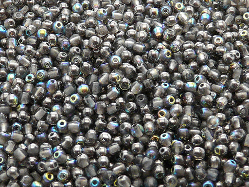 100 pcs Round Pressed Beads, 3mm, Crystal Graphite Rainbow, Czech Glass