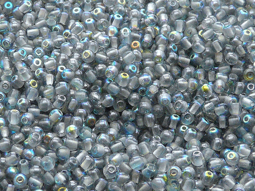 100 pcs Round Pressed Beads, 3mm, Crystal Blue Rainbow, Czech Glass