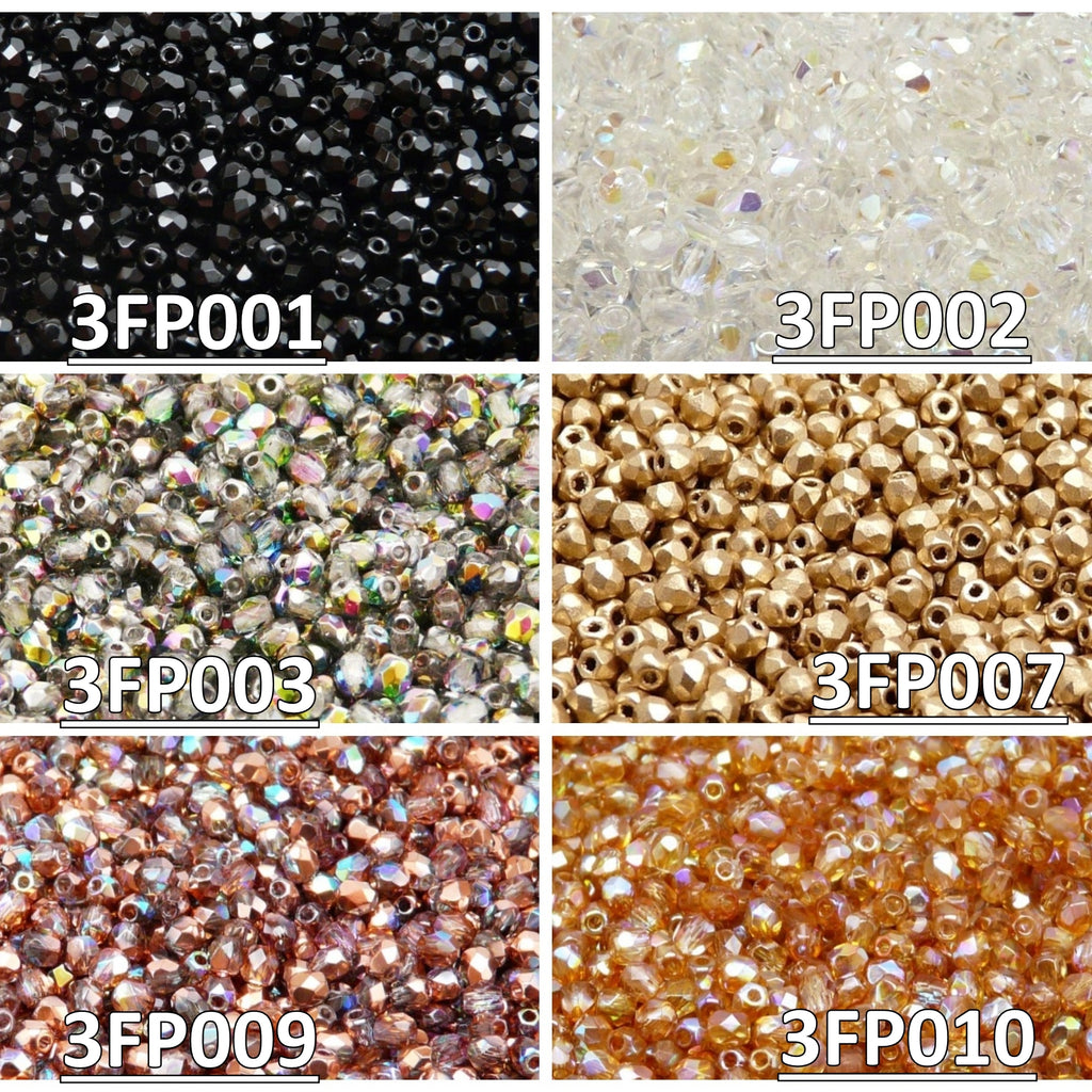 Set of Czech Fire-Polished Glass Beads Round 3mm - 6 colors (3FP001 3FP002 3FP003 3FP007 3FP009 3FP010)